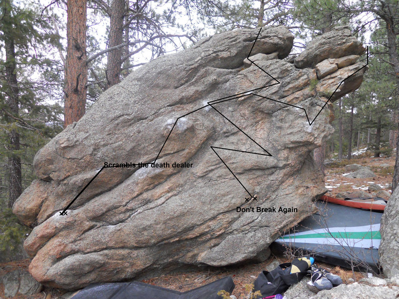 This is the first ascent on the Aris Lounge Boulder, and the 2 problems are Scrambles the Death Dealer, which is a V2, and Don't Break Again, which is a V3.