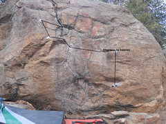 """This is The Inferno to Paradise Boulder and the first ascent of it is a problem called """"Stairway to Heaven"""". It is a V5."""