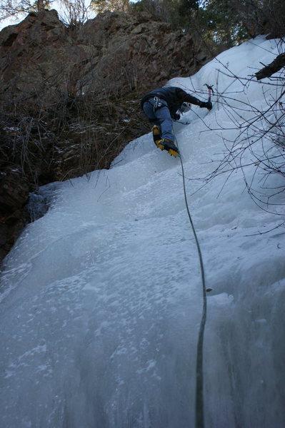Steve climbing.