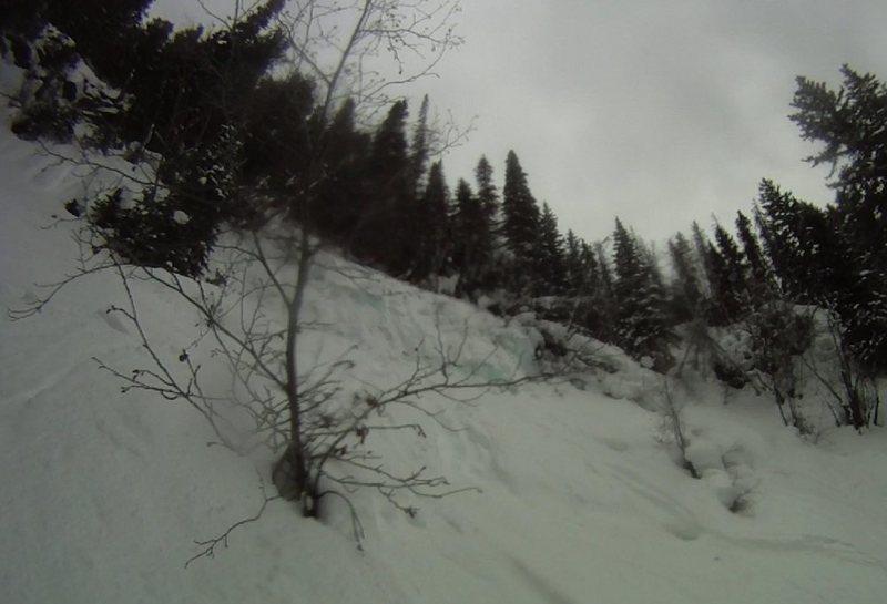 Rock Climbing Photo: Big Gully Ice aka Porzak chute ski descent Vail, C...