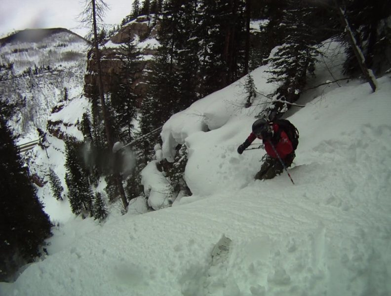 Big Gully Ice aka Porzak Chute ski descent Vail, CO