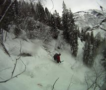 Rock Climbing Photo: Big Gully Ice aka Porzak chute ski descent Vail, C...