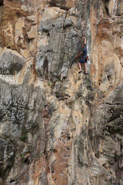Rock Climbing Photo: Ken leading Monsoon.  Photo by Ram Sripracha.