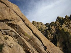 Rock Climbing Photo: Leading up the second pitch of Moby Dick, Cochise ...