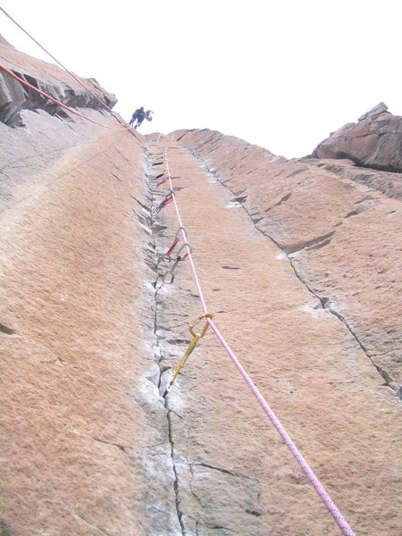 Lowering down after a clean send of M&Ms.  Lots of small gear as you can see.<br> <br> The rope on the left is hanging down on George and Martha's.  Friends were running laps on it when they talked me into leading M&Ms!