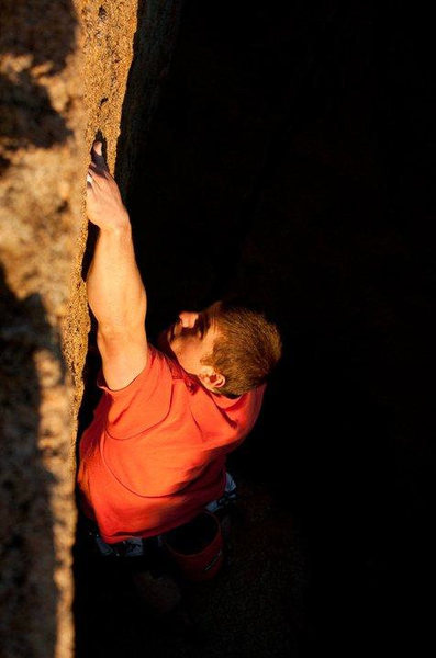 Rock Climbing Photo: Greg Horvath working the left variation.    Photo ...