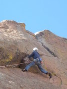 Rock Climbing Photo: Just below the crux.  Footholds on the face make t...