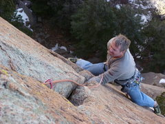 Rock Climbing Photo: Just past the crux roof move.