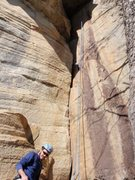 Rock Climbing Photo: Starr Mountain: first top rope crack of my life......