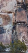 Rock Climbing Photo: Climber leading Riff Raff Roof