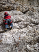 My little friend Jamie (age 4) FIRST LEAD CLIMB !!!