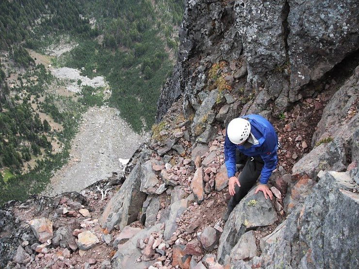 Down climbing the North Ridge Route.