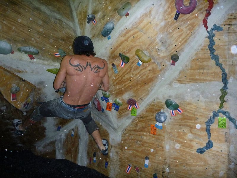 Boulders Represent!  Dobbe at the 2011 'Best of the Midwest' at Prairie Walls climbing gym.