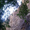 This is the top of the Orangutan wall 5.10b