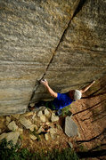 "Rock Climbing Photo: Eric Singleton in the crux of ""Ebloa"".  ..."