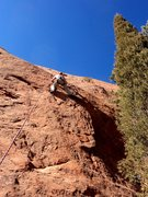 Rock Climbing Photo: Dave at the crux.  Got to trust the feet.