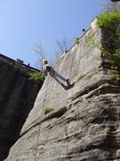 Rock Climbing Photo: The route goes right up the line of rappel.