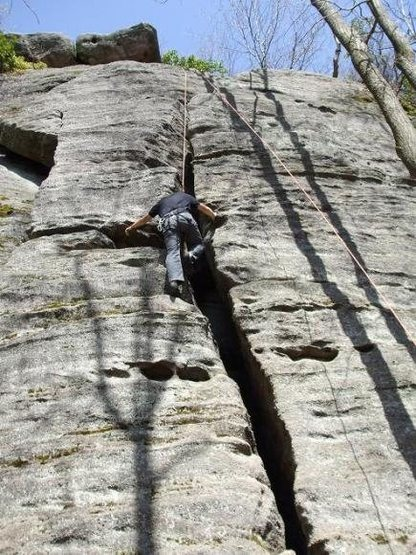 Rock Climbing Photo: Approaching the first large ledge.