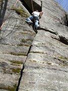 Rock Climbing Photo: Scott Tingley approaching the crux.