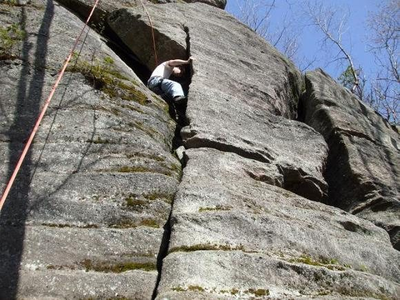 Rock Climbing Photo: Scott Tingley attempting the 5.10a variation.
