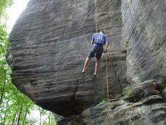 Rock Climbing Photo: Checking how wet the route is on rappel.