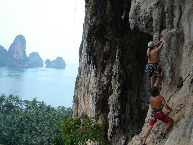 Rock Climbing Photo: Drew S. and Adam W. on the start of Monkey Bars...