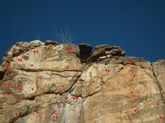 Rock Climbing Photo: Hangers in red.