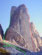 Rock Climbing Photo: Cima Piccola Yellow edge route and descent