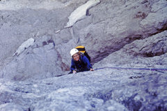 Rock Climbing Photo: Climbing near the top of the NW Buttress of Laston...