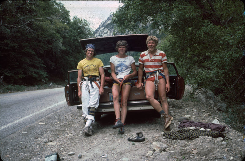 The day before we had climbed Pilz Grind, on this day it was the Dorsal Fin. 1983, JG, R vK, Koni Hari