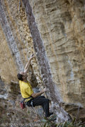 Rock Climbing Photo: Mike leaving the ledge at the 2nd bolt of True Lov...