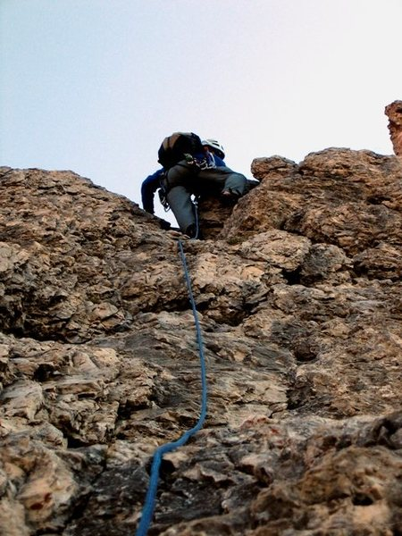 Climbing up the first pitch of the Steger Route on the First Sella Tower.