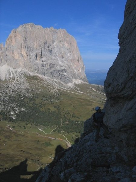 Rock Climbing Photo: View from the end of the second pitch on the Stege...