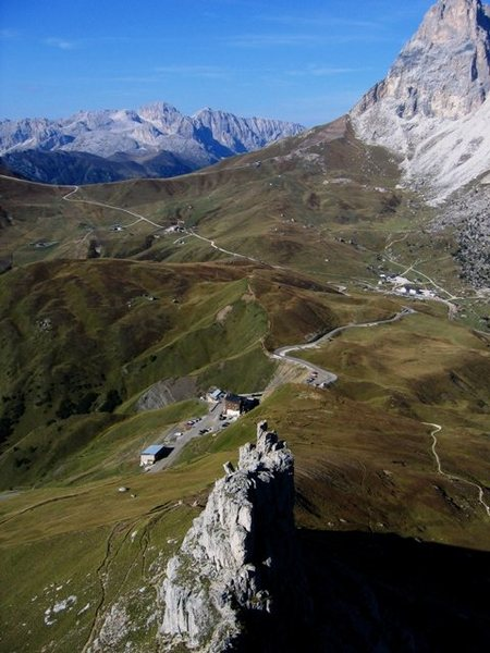 Looking down the West Ridge of the First Sella Tower, over the top of the Locomotive, and, towards Sella Pass and beyond.
