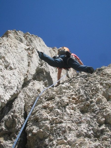 Starting up the fun second pitch of the Kostner route on the Second Sella Tower.<br> Photo by Matt.