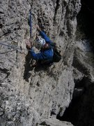 Rock Climbing Photo: Nearing the top of the exposed second pitch of the...