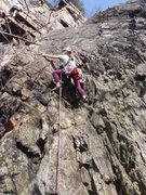 Rock Climbing Photo: Shrimp Scampered, 5.5  Yay, first lead ever! I gue...