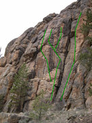 Rock Climbing Photo: North Bank Left photo. Pandemonium is the leftmost...