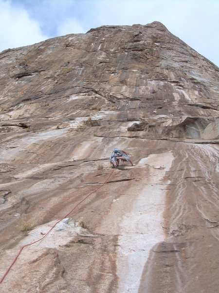 Rock Climbing Photo: Looking up the 1st Pitch