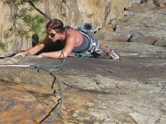 Rock Climbing Photo: Kelly coming up Passages