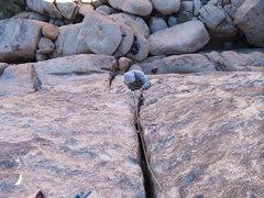 Rock Climbing Photo: Daniel cleaning Double Dogleg 5.7