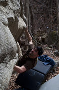 Rock Climbing Photo: Making the Crux move on a fun V4+
