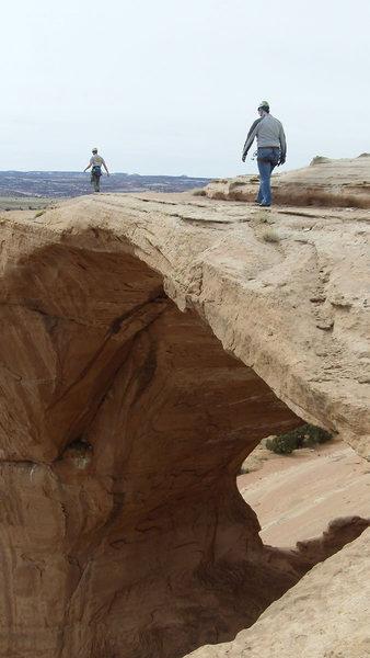 Walking around above the arch.