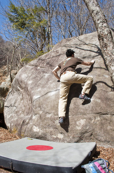 Rock Climbing Photo: V4 slab, climber Eddie, FA Jack Nakane