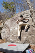 Rock Climbing Photo: V4 slab, climber Eddie, FA Jack Nakane