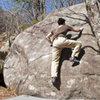 V4 slab, climber Eddie, FA Jack Nakane