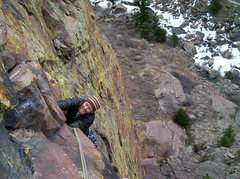 Rock Climbing Photo: Enjoying Ruper on a brisk morning in early March.