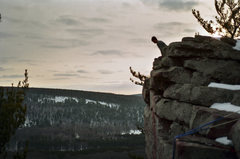 Rock Climbing Photo: Leo scoping out the top of a 5.9 crack at Devil's ...
