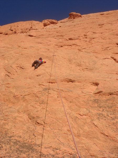 Rock Climbing Photo: Myong crimping her way up No Ethics.