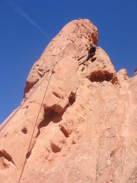 Myong on the Pillar Climb.